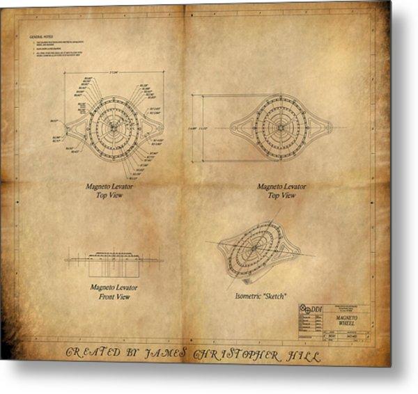 Magneto System Blueprint Metal Print