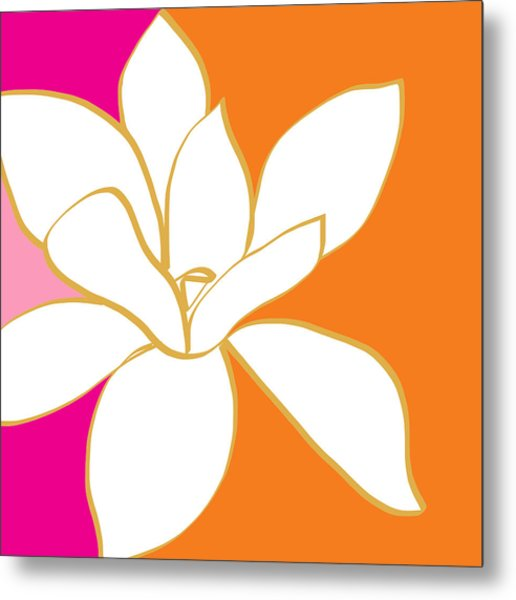 Magnolia 3- Colorful Flower Art Metal Print
