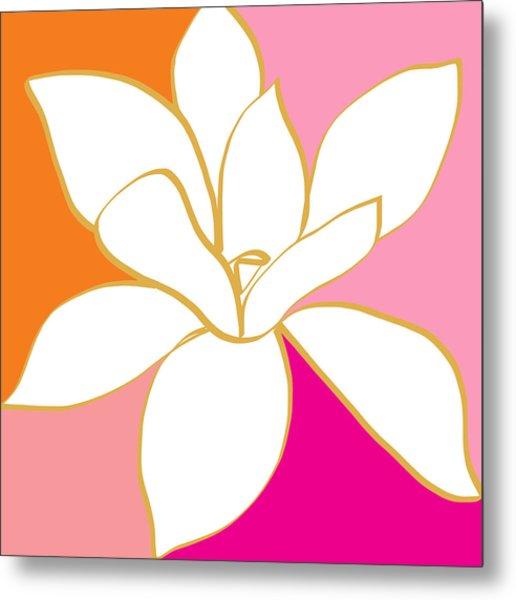 Magnolia 4- Colorful Flower Art Metal Print