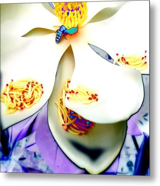 Magnolia Bee Metal Print