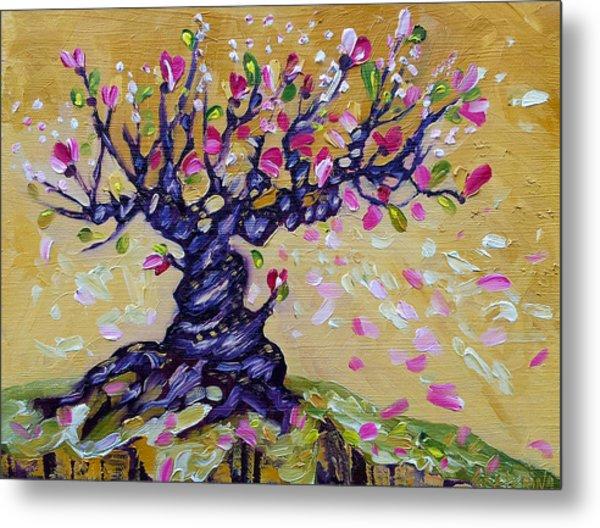 Magnolia Tree Flower Painting Oil On Canvas By Ekaterina Chernova Metal Print