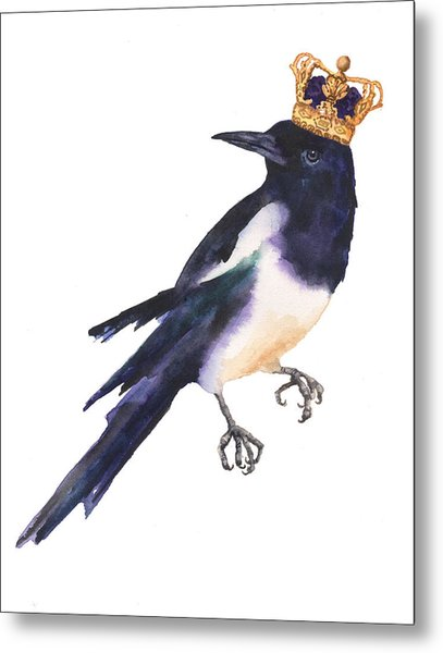 Magpie Watercolor Metal Print