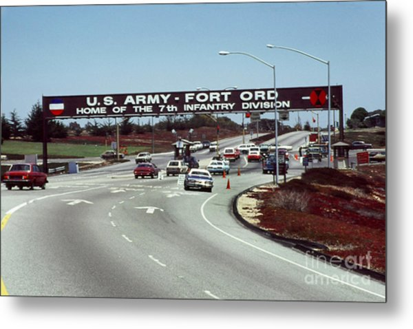 Main Gate 7th Inf. Div Fort Ord Army Base Monterey Calif. 1984 Pat Hathaway Photo Metal Print