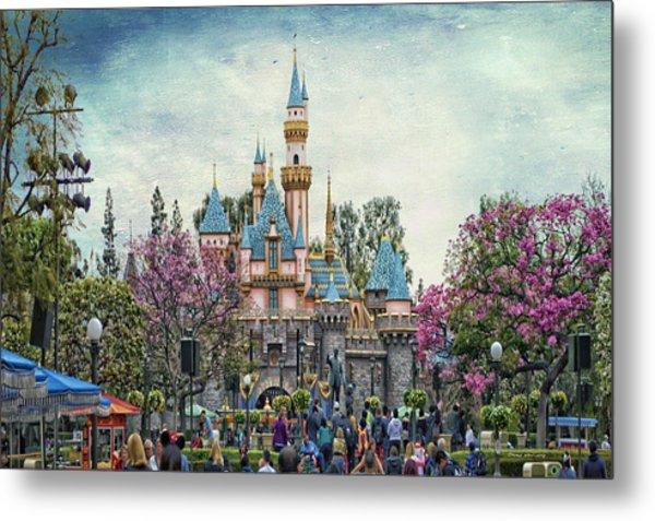 Main Street Sleeping Beauty Castle Disneyland Textured Sky Metal Print