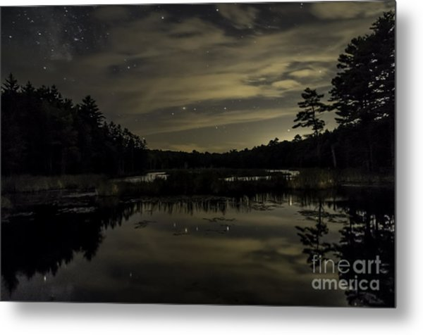 Maine Beaver Pond At Night Metal Print