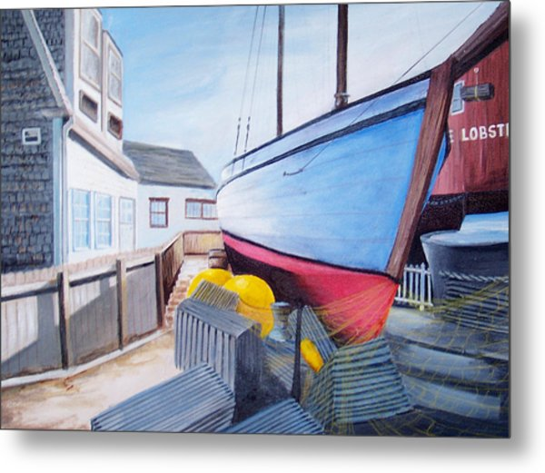 Maine Boatyard Metal Print