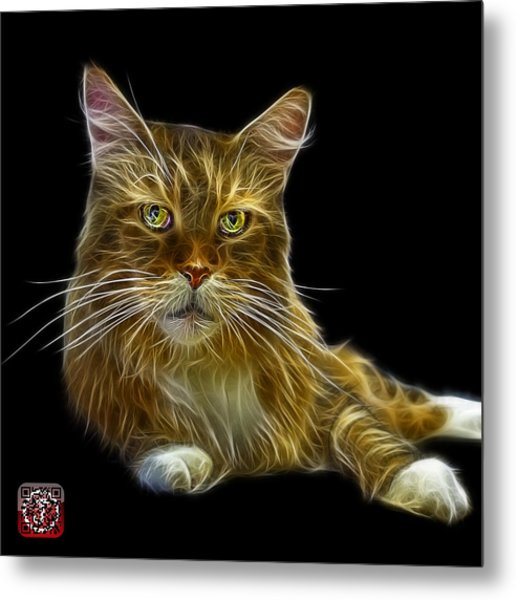 Metal Print featuring the painting Maine Coon Cat - 3926 - Bb by James Ahn
