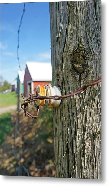 Maine Electric Fence Metal Print by Melissa C
