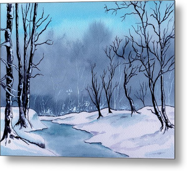 Maine Snowy Woods Metal Print