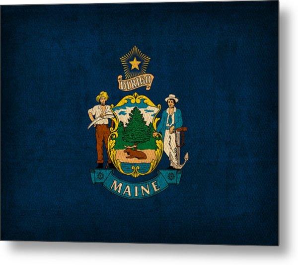Maine State Flag Art On Worn Canvas Metal Print
