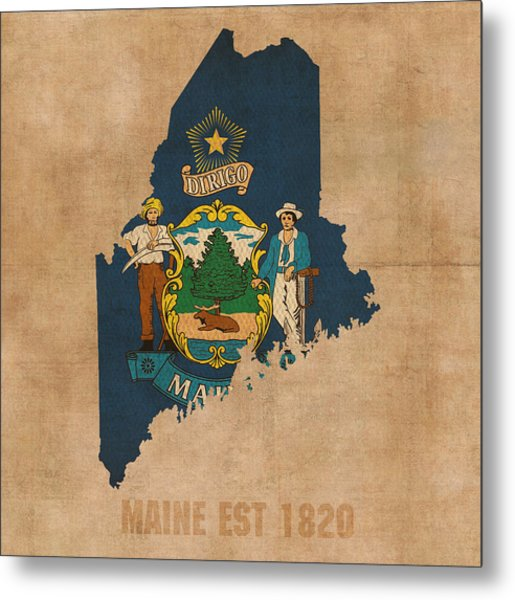 Maine State Flag Map Outline With Founding Date On Worn Parchment Background Metal Print