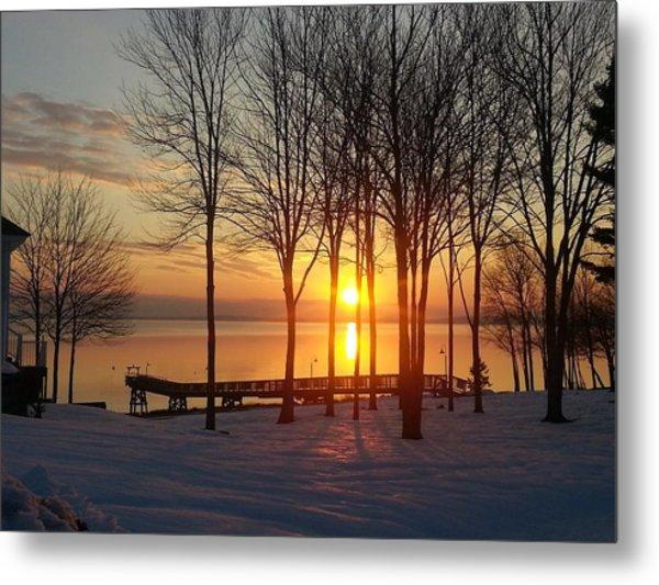 Maine Winter Sunrise Metal Print by Melissa C