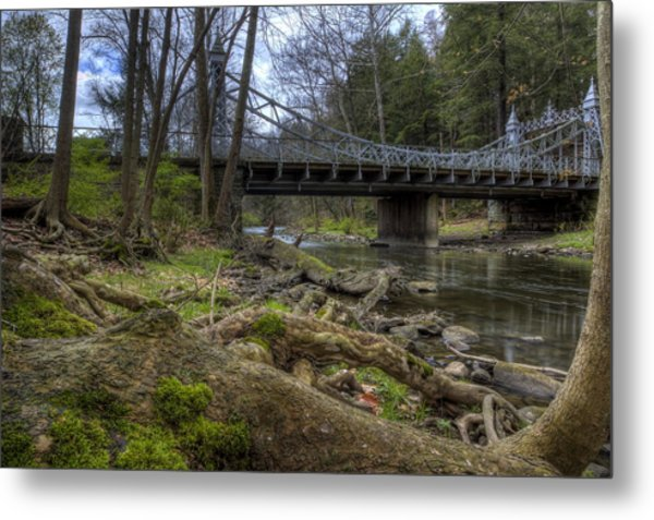 Majestic Bridge In The Woods Metal Print