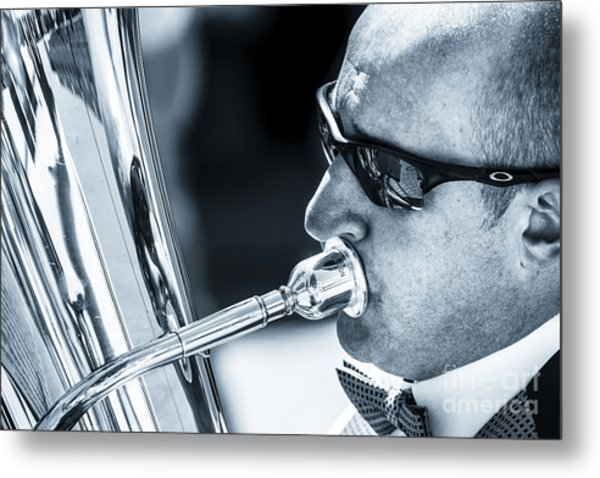 Male In Sunglasses Blowing Mouthpiece Of Tuba Metal Print