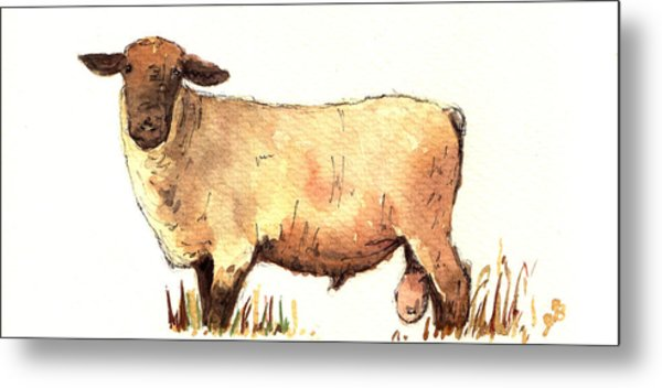 Male Sheep Black Metal Print
