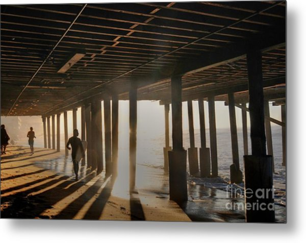 Malibu Pylon Sunrise Metal Print