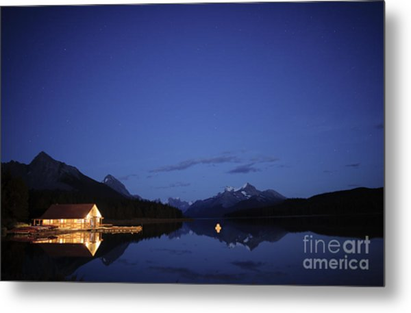 Maligne Lake Boathouse At Night Metal Print