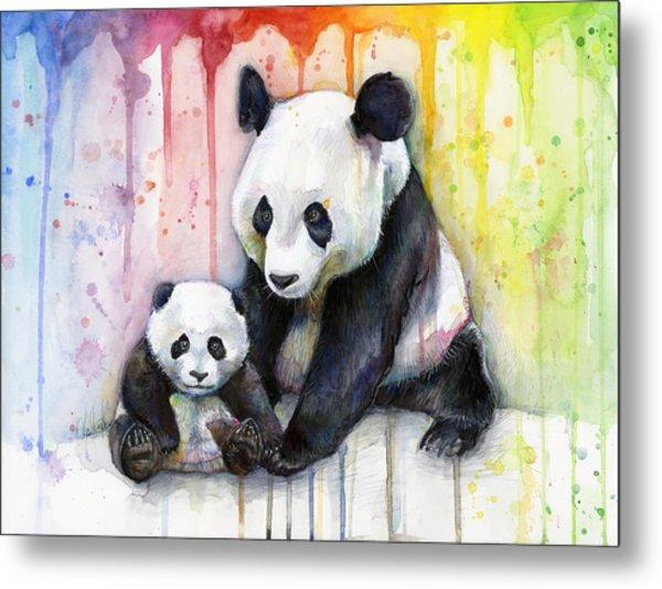 Panda Watercolor Mom And Baby Metal Print