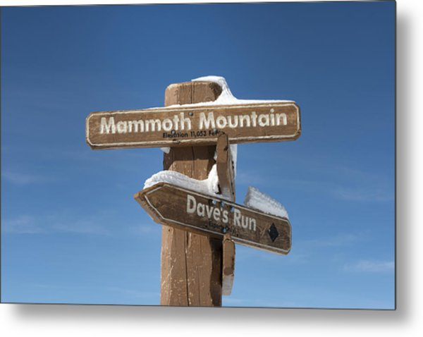 Mammoth Mountain Sign In Mono County Metal Print