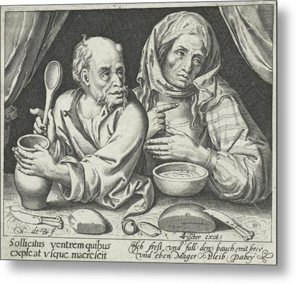 Man And Woman Eating Porridge, Nicolaes De Bruyn Metal Print