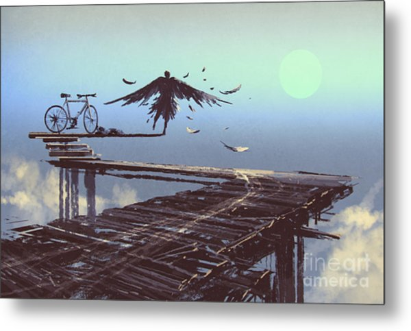 Man Becomes Bird Standing On End Of Metal Print by Tithi Luadthong