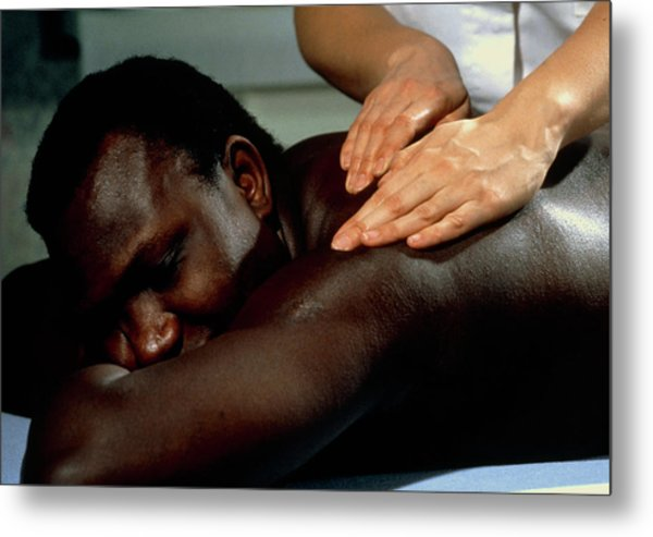 Man Being Given An Aromatherapy Massage Metal Print