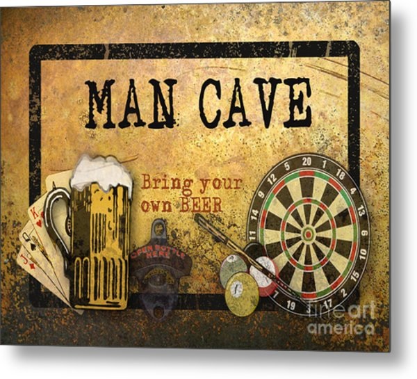 Man Cave-bring Your Own Beer Metal Print