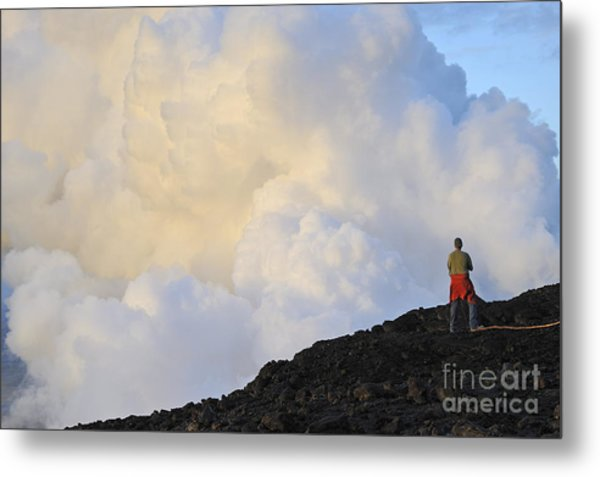 Man Contemplating Clouds Of Steam On Volcano Metal Print by Sami Sarkis