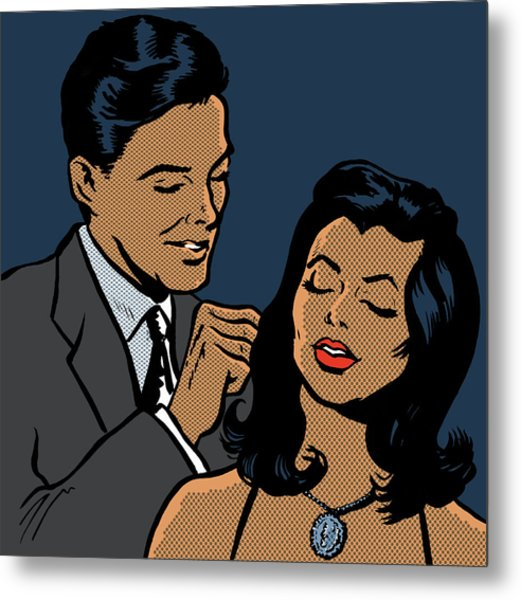 Man Fastening Necklace On Girlfriend Metal Print