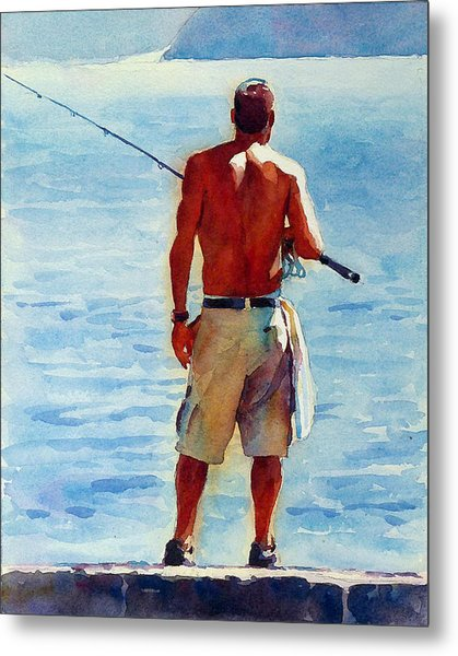 Man, Fishing Metal Print by Graham Berry