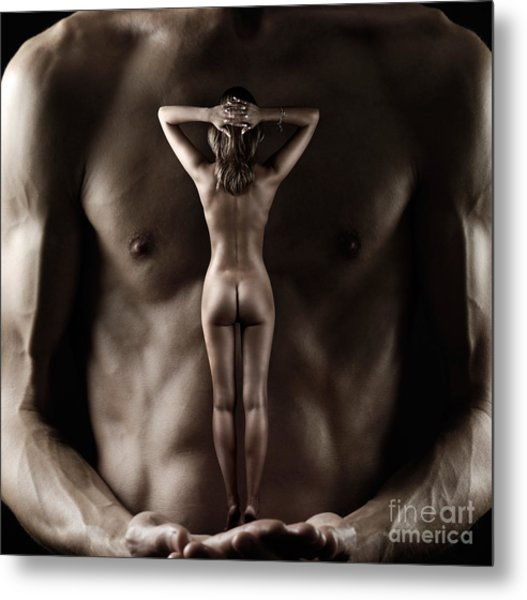 Man Holding A Naked Fitness Woman In His Hands Metal Print