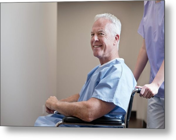 Man In Hospital Gown In Wheelchair Metal Print by Science Photo Library