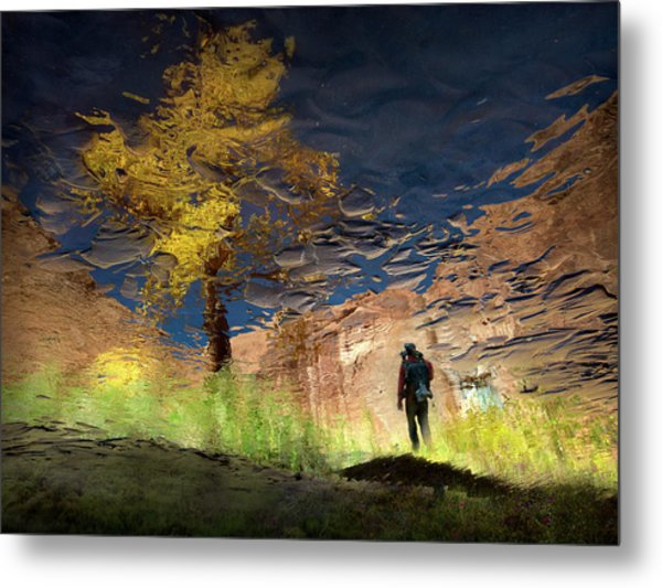 Man In Nature - Into The Canyon Metal Print
