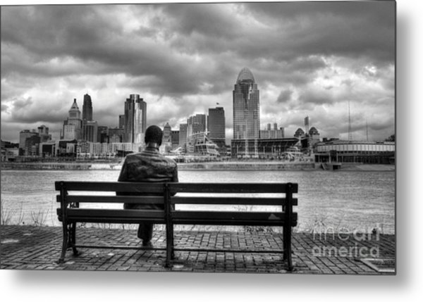 Metal Print featuring the photograph Man On A Bench by Mel Steinhauer