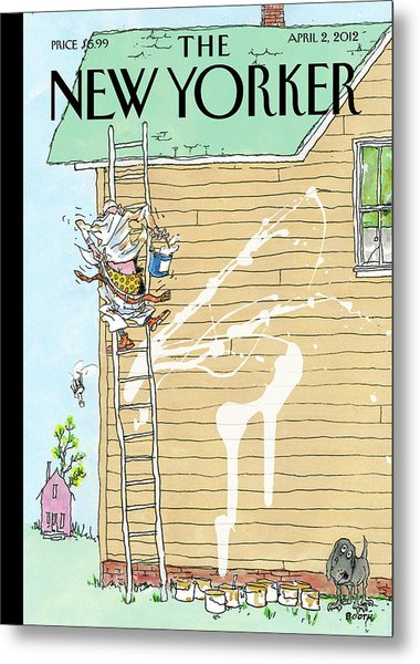 Man On Ladder Painting House Making A Mess Metal Print