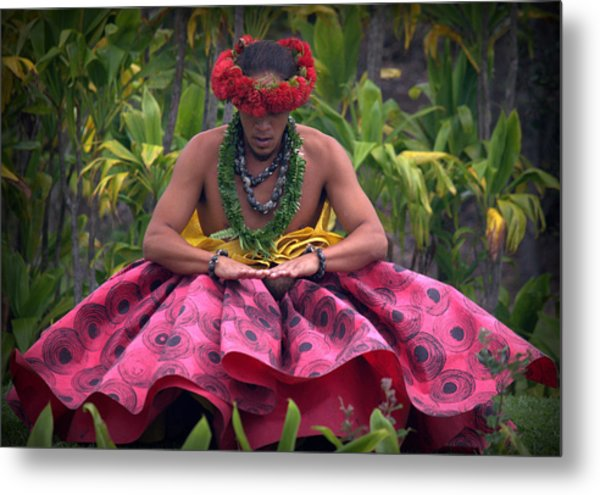 Man Performing Ancient Hula Metal Print