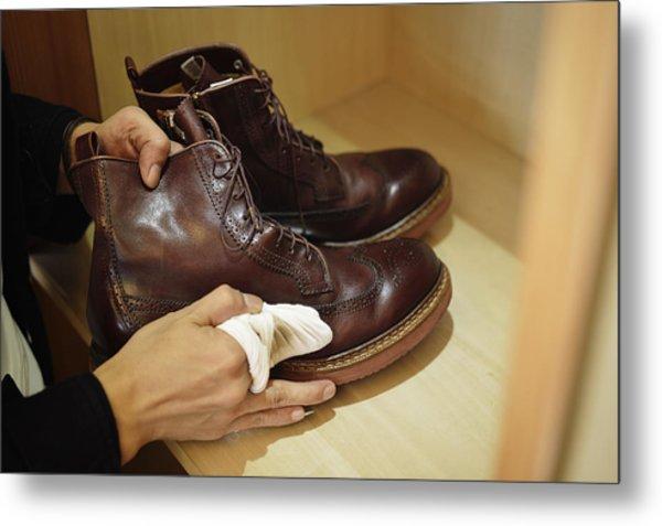 Man Polishing Leather Shoes Metal Print by Yagi Studio