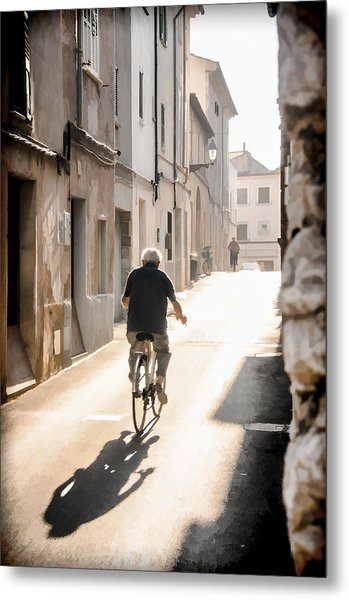 Man Riding Bicycle In Street In Puerto Pollenca Metal Print