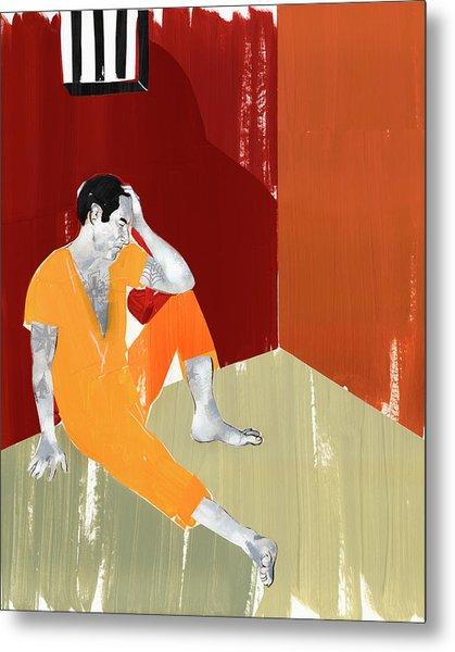 Man Sitting On Floor Of Jail Cell Metal Print