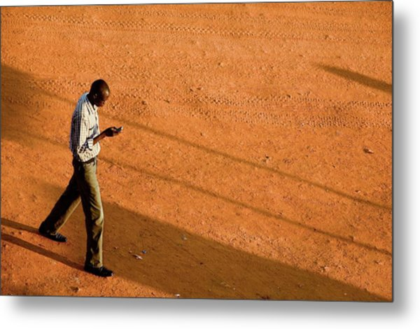Man Using A Mobile Phone Metal Print