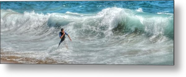 Man Vs Wave Metal Print