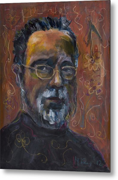Man With Flowers-self-portrait Metal Print