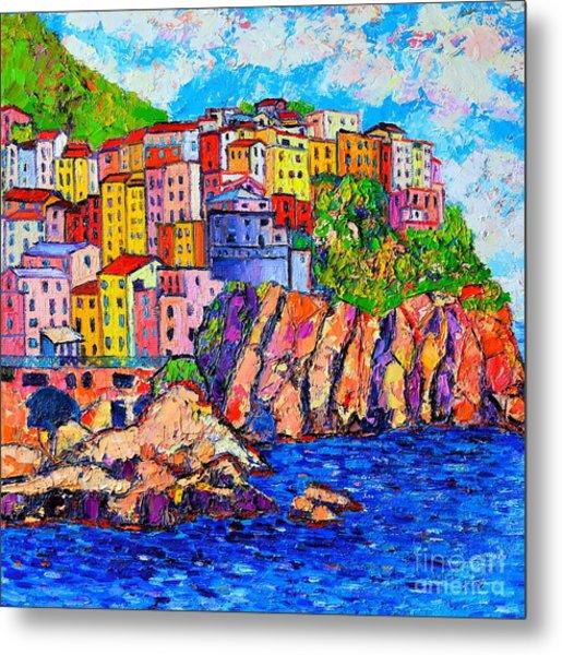 Manarola Cinque Terre Italy Detail Metal Print