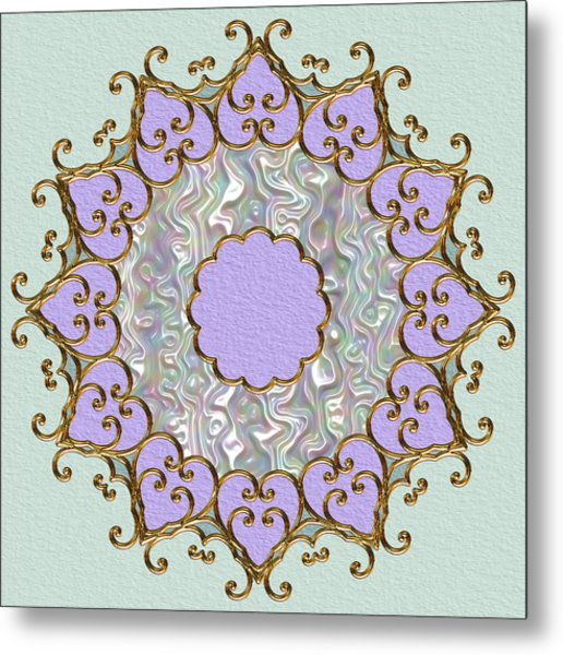 Mandala In Gold And Orchid Metal Print by Pat Follett