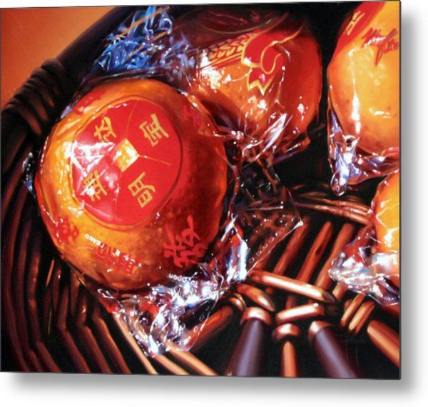 Mandarins In Cello Packets Metal Print by Dianna Ponting