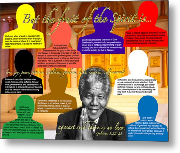 Mandela's Rainbow With Scripture Metal Print