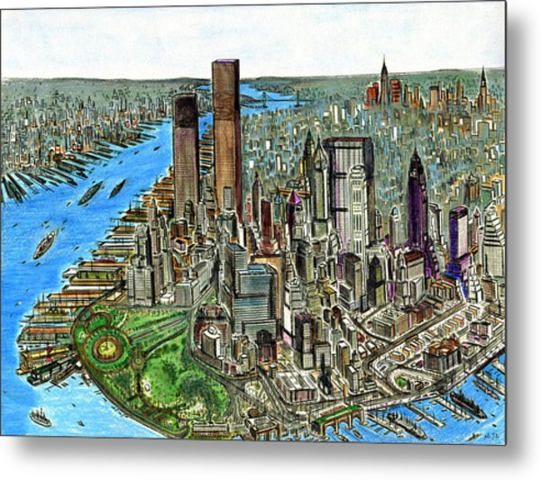 New York Downtown Manhattan 1972 Metal Print