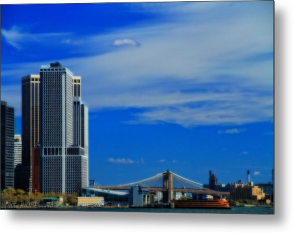 Manhattan Bridge And Nyc Skyline From The Harbor Metal Print