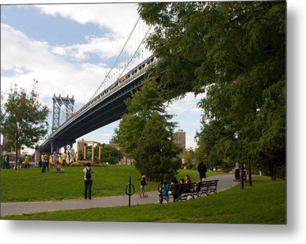 Manhattan Bridge And Park Metal Print
