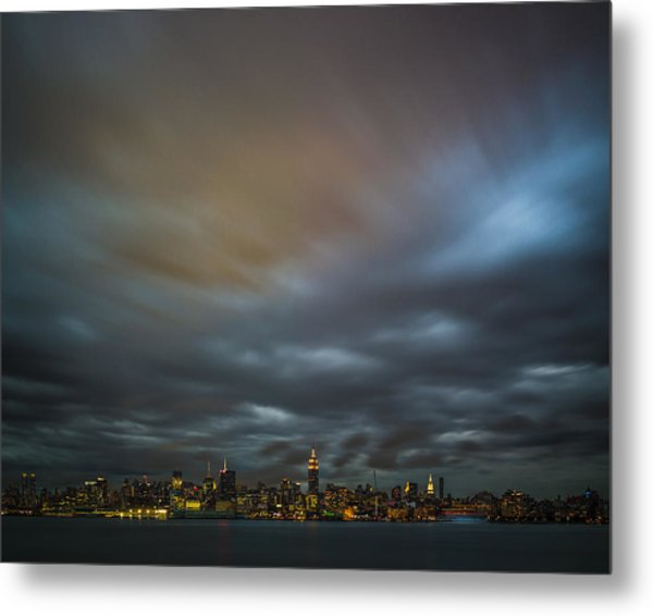 Manhattan On The Horizon Metal Print by Chris Halford